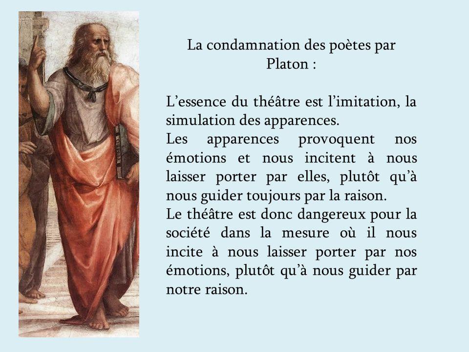 La condamnation des poètes par Platon : Lessence du théâtre est limitation, la simulation des apparences.