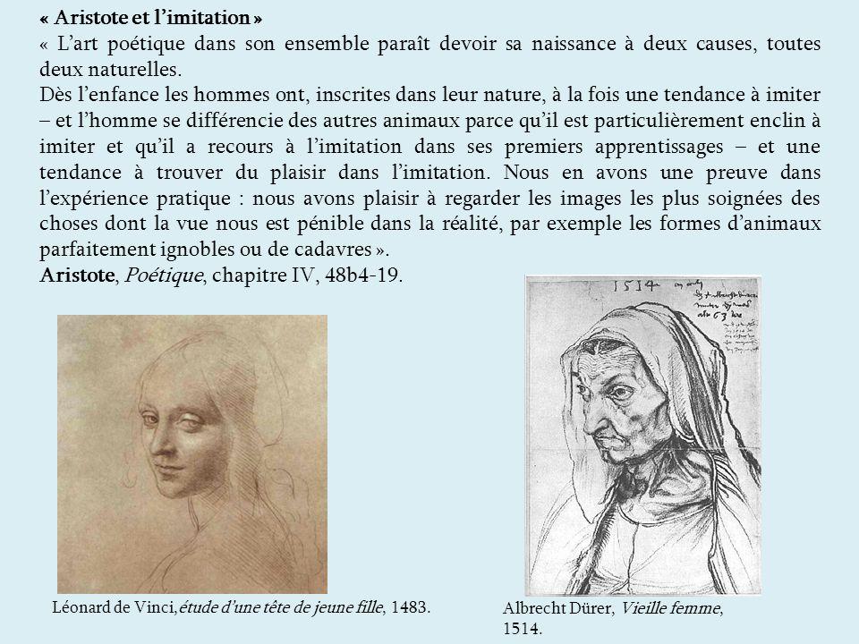 « Aristote et limitation » « Lart poétique dans son ensemble paraît devoir sa naissance à deux causes, toutes deux naturelles.