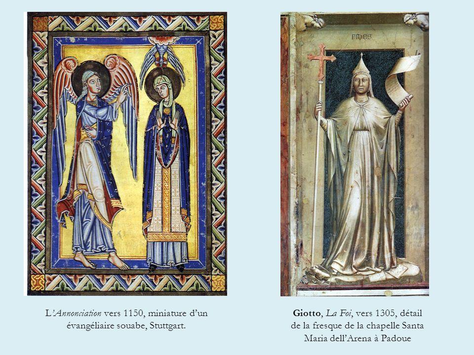 LAnnonciation vers 1150, miniature dun évangéliaire souabe, Stuttgart.