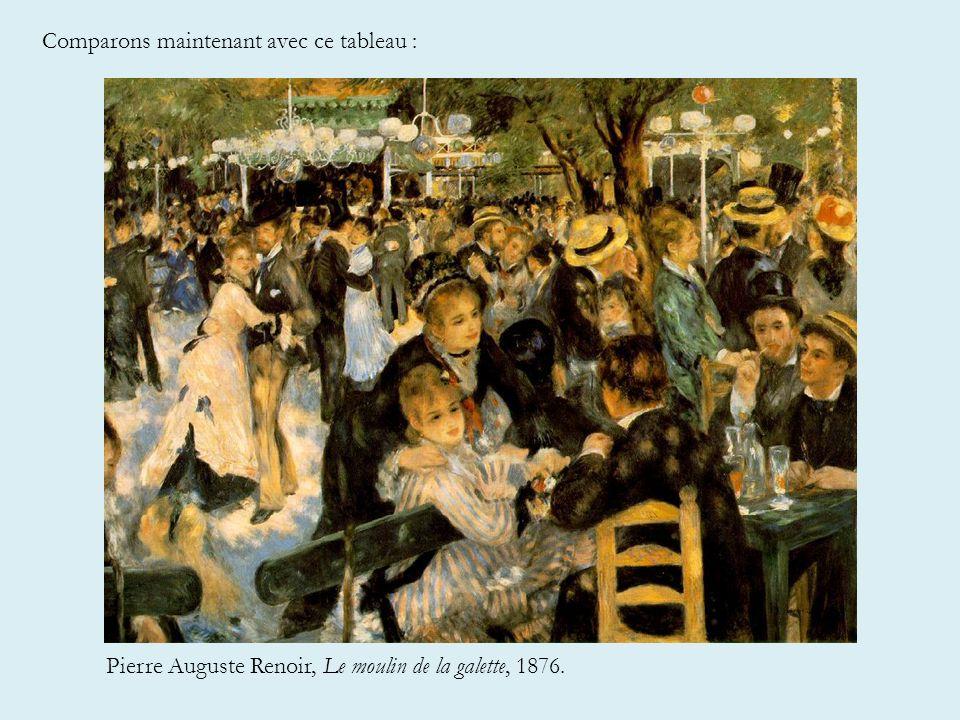 Comparons maintenant avec ce tableau : Pierre Auguste Renoir, Le moulin de la galette, 1876.
