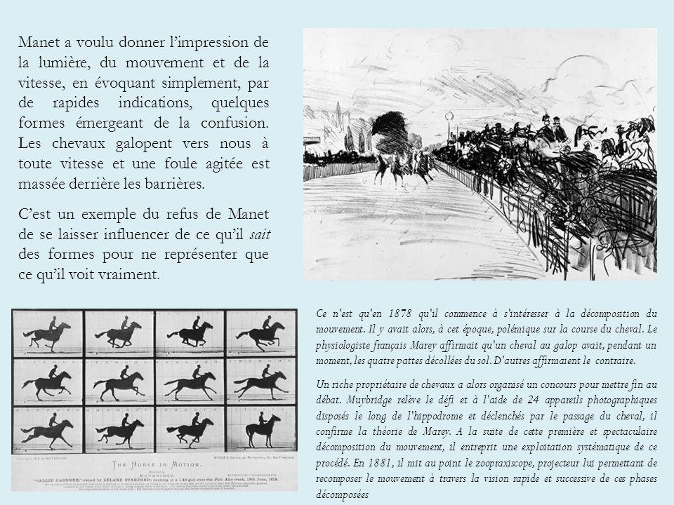 Manet a voulu donner limpression de la lumière, du mouvement et de la vitesse, en évoquant simplement, par de rapides indications, quelques formes émergeant de la confusion.