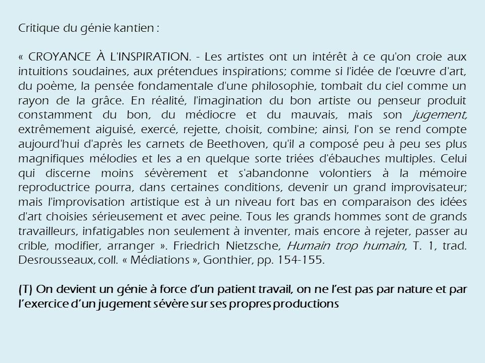 Critique du génie kantien : « CROYANCE À L INSPIRATION.