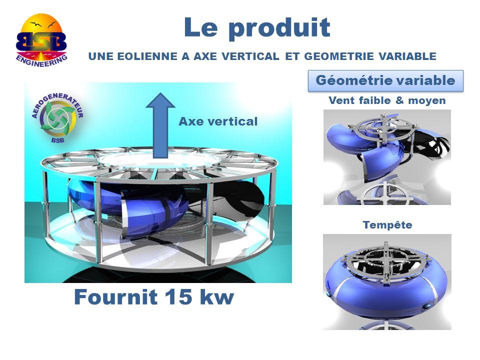 Le produit Fournit 15 kw UNE EOLIENNE A AXE VERTICAL ET GEOMETRIE VARIABLE Axe vertical Géométrie variable Tempête Vent faible & moyen