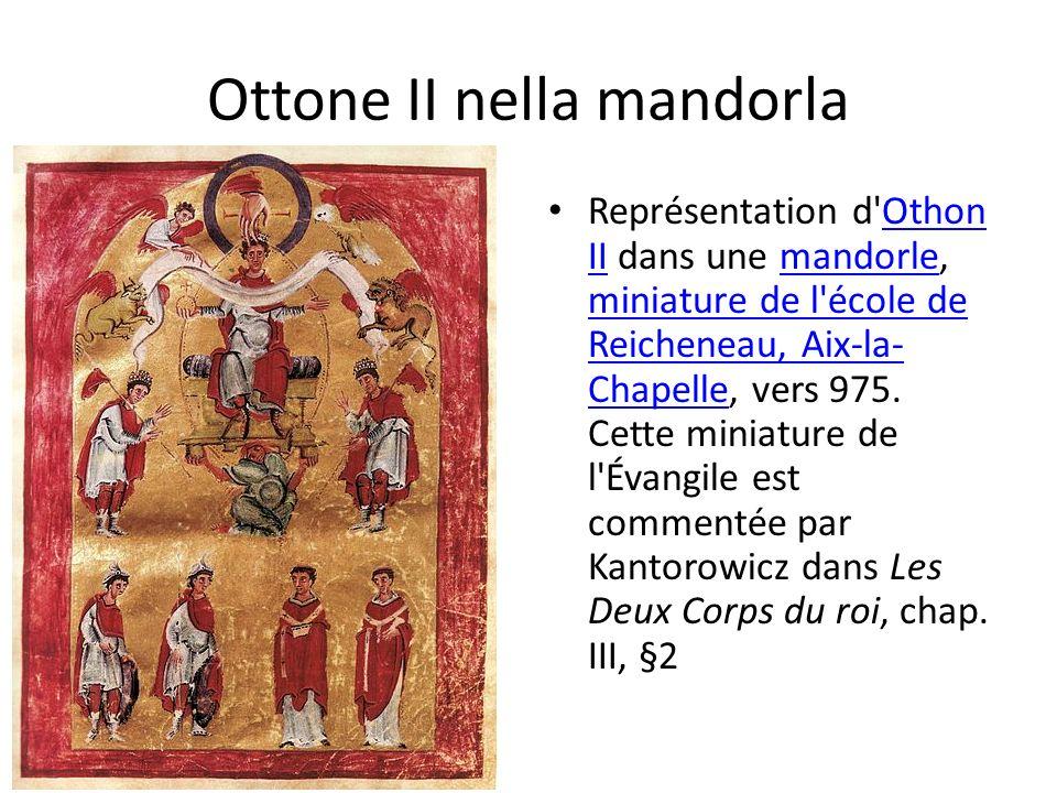 Ottone II nella mandorla Représentation d Othon II dans une mandorle, miniature de l école de Reicheneau, Aix-la- Chapelle, vers 975.