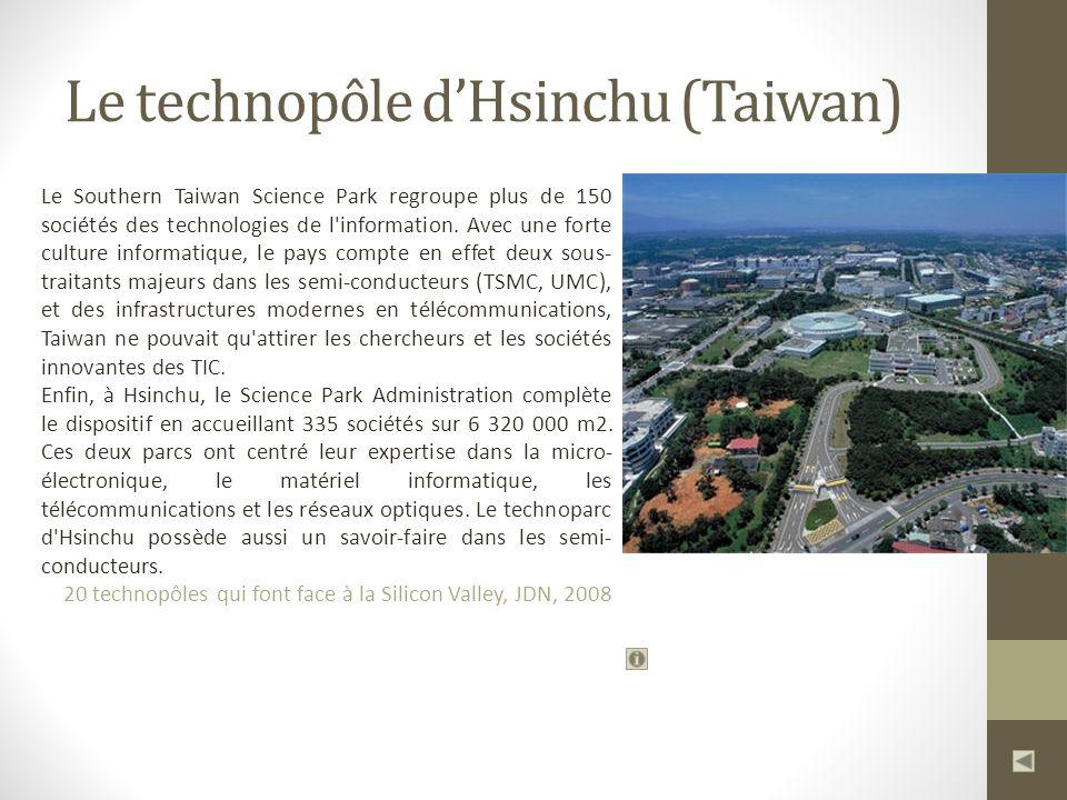 Le technopôle dHsinchu (Taiwan) Le Southern Taiwan Science Park regroupe plus de 150 sociétés des technologies de l information.