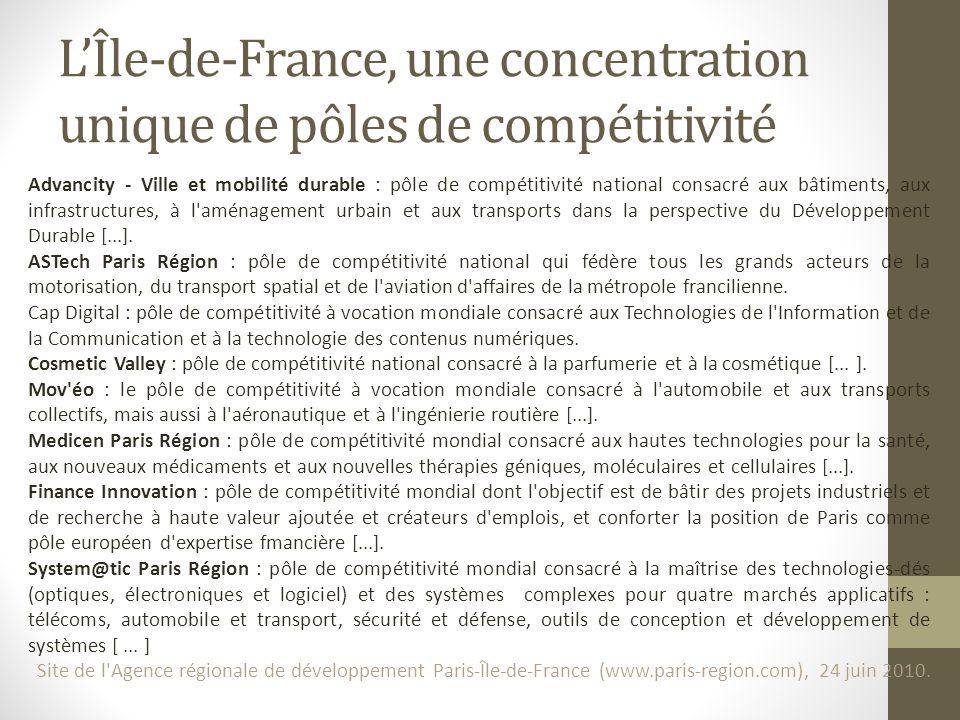 LÎle-de-France, une concentration unique de pôles de compétitivité Advancity - Ville et mobilité durable : pôle de compétitivité national consacré aux