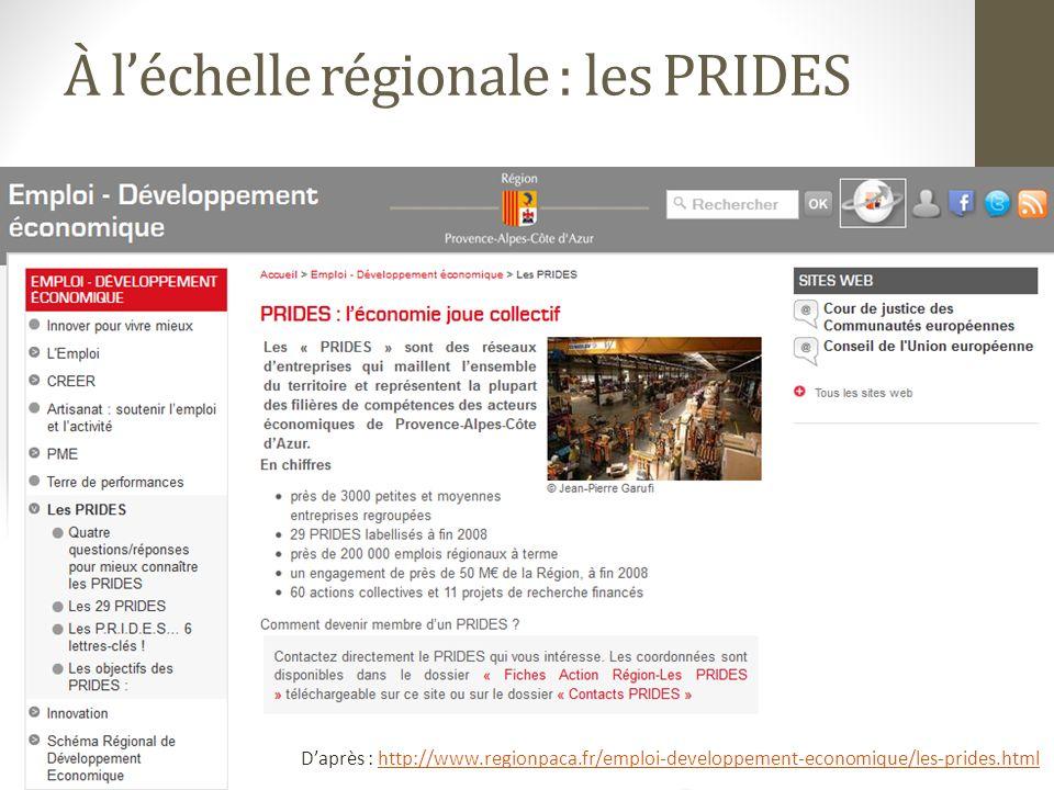 À léchelle régionale : les PRIDES Daprès : http://www.regionpaca.fr/emploi-developpement-economique/les-prides.htmlhttp://www.regionpaca.fr/emploi-developpement-economique/les-prides.html
