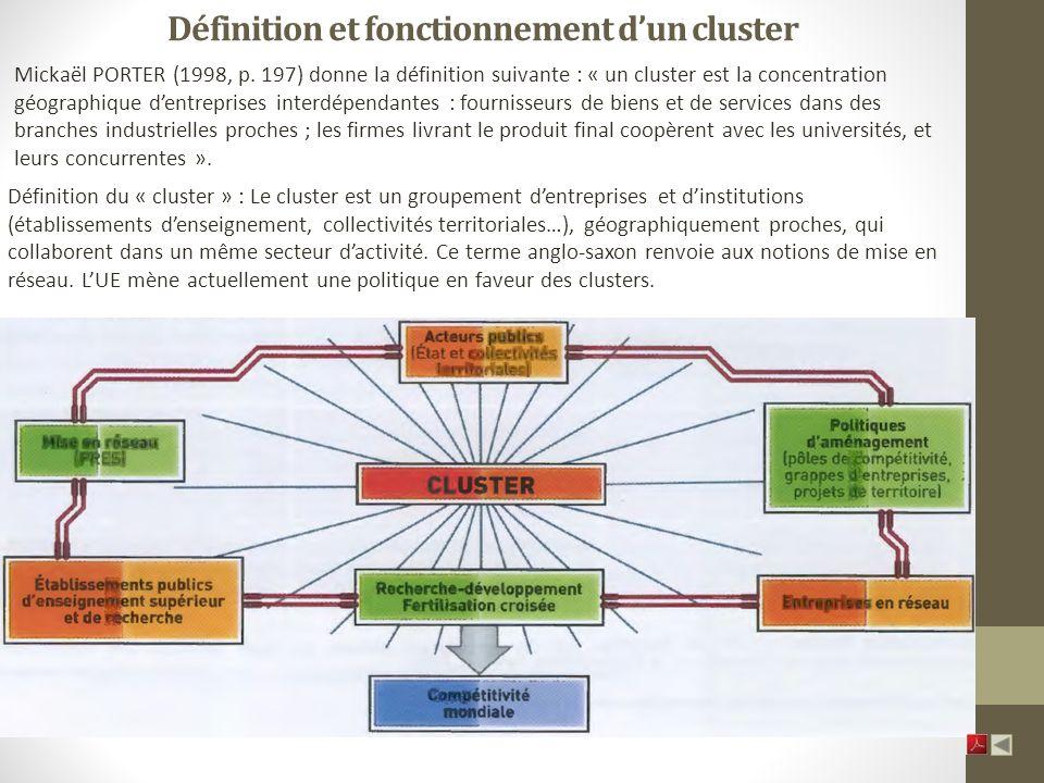 Définition et fonctionnement dun cluster Mickaël PORTER (1998, p.