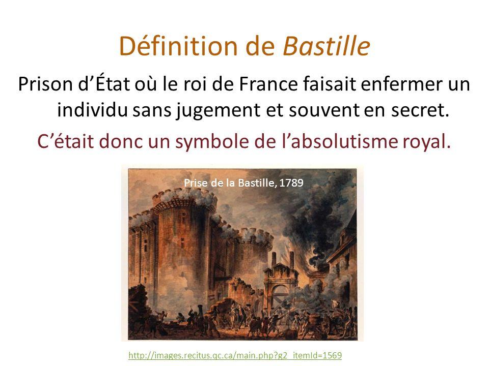 Prison dÉtat où le roi de France faisait enfermer un individu sans jugement et souvent en secret.