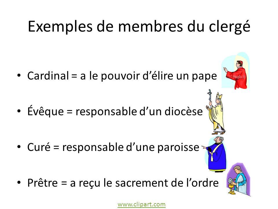 Exemples de membres du clergé Cardinal = a le pouvoir délire un pape Évêque = responsable dun diocèse Curé = responsable dune paroisse Prêtre = a reçu le sacrement de lordre www.clipart.com