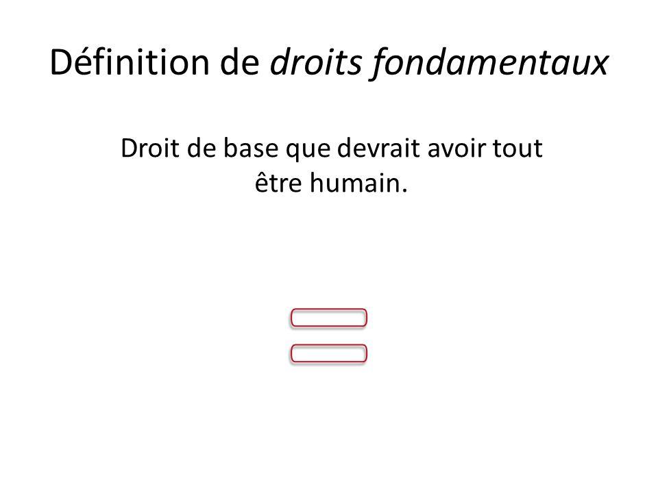 Définition de droits fondamentaux Droit de base que devrait avoir tout être humain.