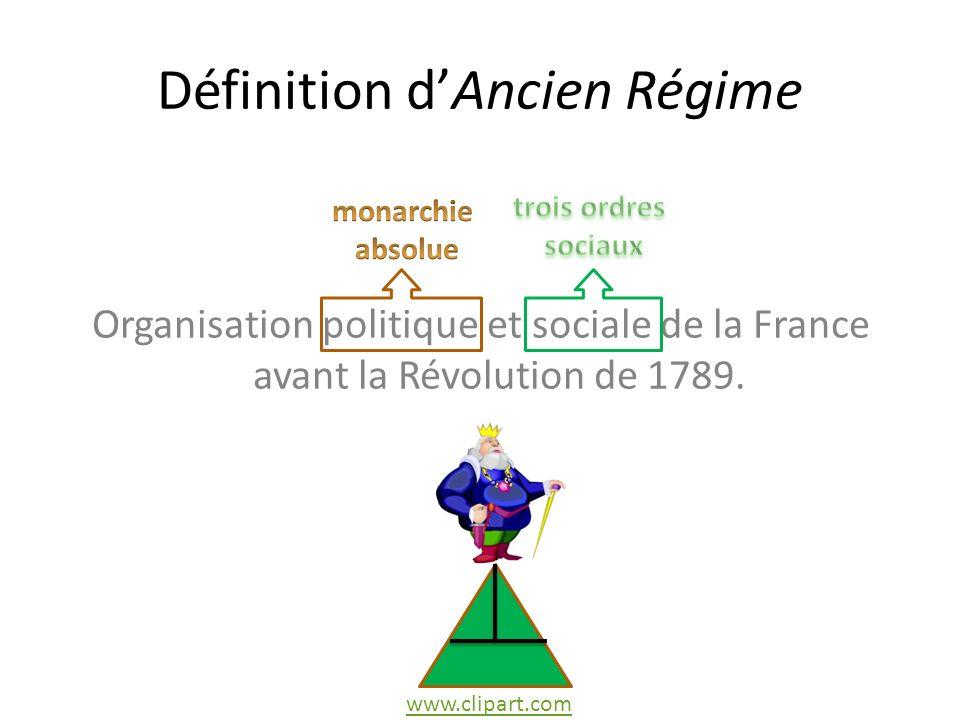 Définition dAncien Régime Organisation politique et sociale de la France avant la Révolution de 1789.