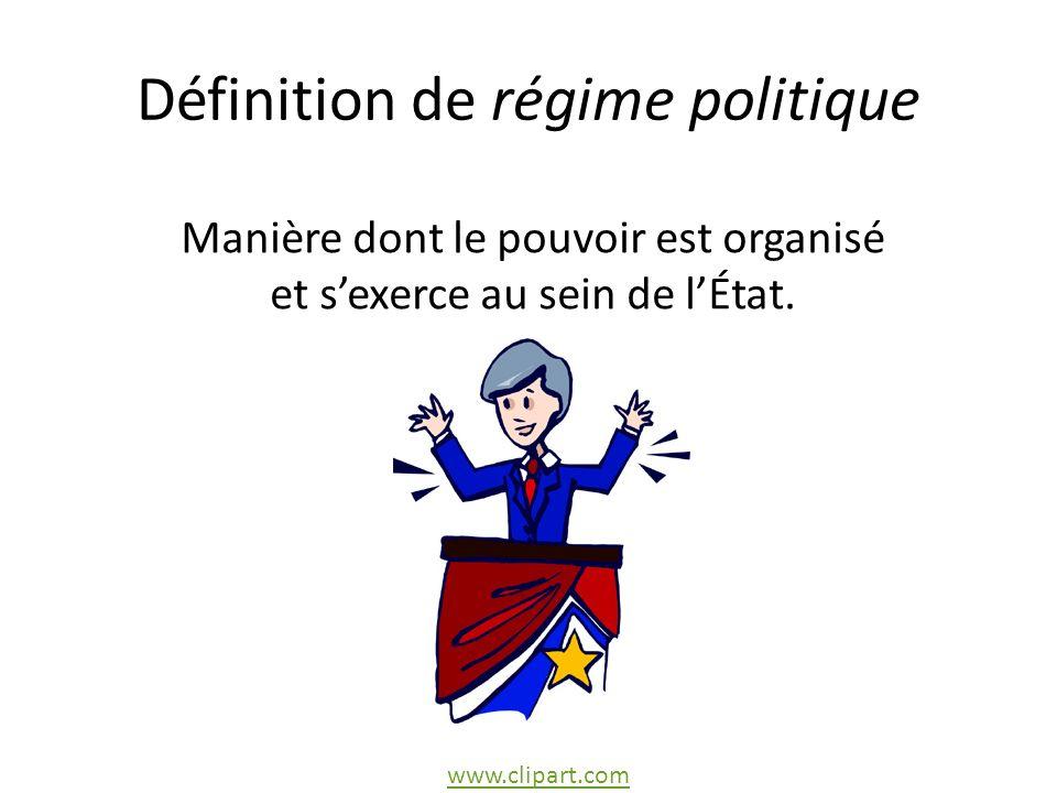 Définition de régime politique Manière dont le pouvoir est organisé et sexerce au sein de lÉtat.