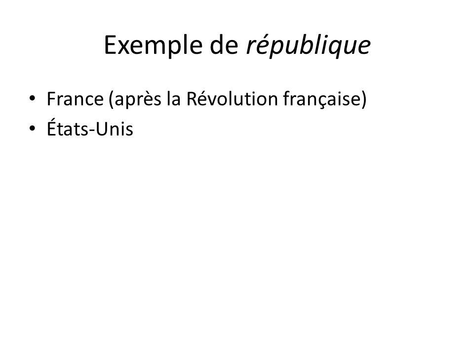 Exemple de république France (après la Révolution française) États-Unis