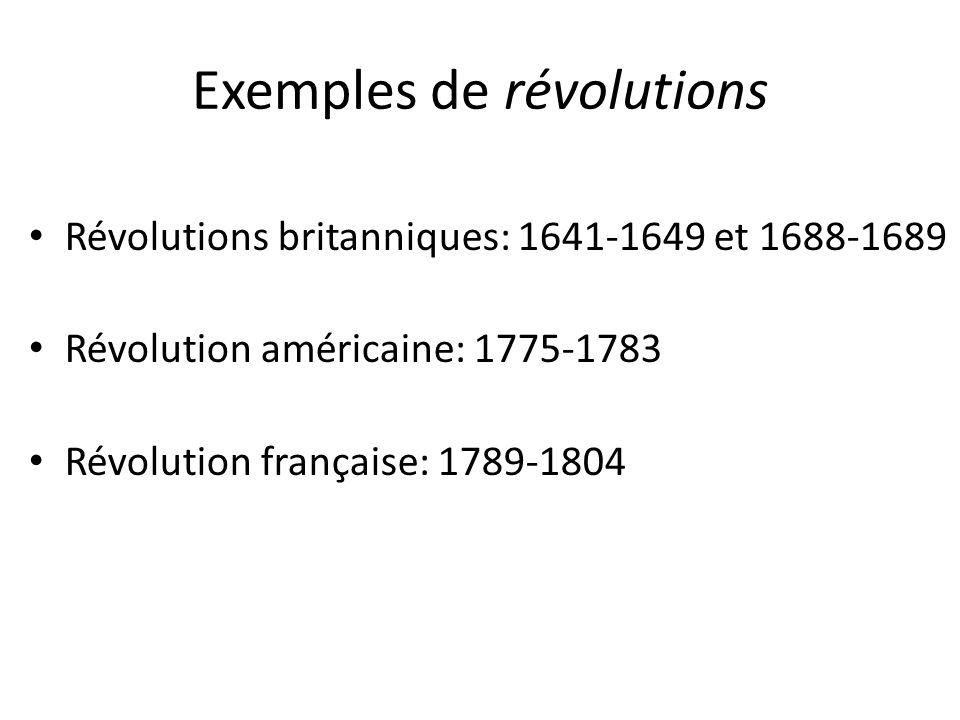 Exemples de révolutions Révolutions britanniques: 1641-1649 et 1688-1689 Révolution américaine: 1775-1783 Révolution française: 1789-1804