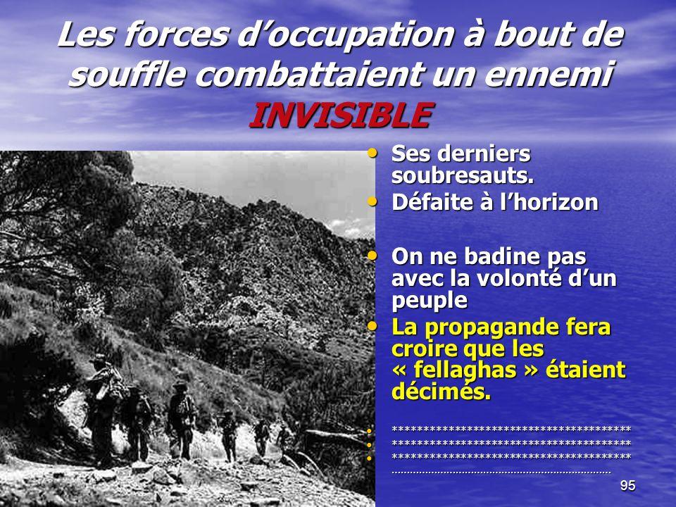 94 Le général De Gaulle : Le général De Gaulle : Conscient de limpossibilité de gagner la guerre, le général finira par admettre : le droit des Algéri