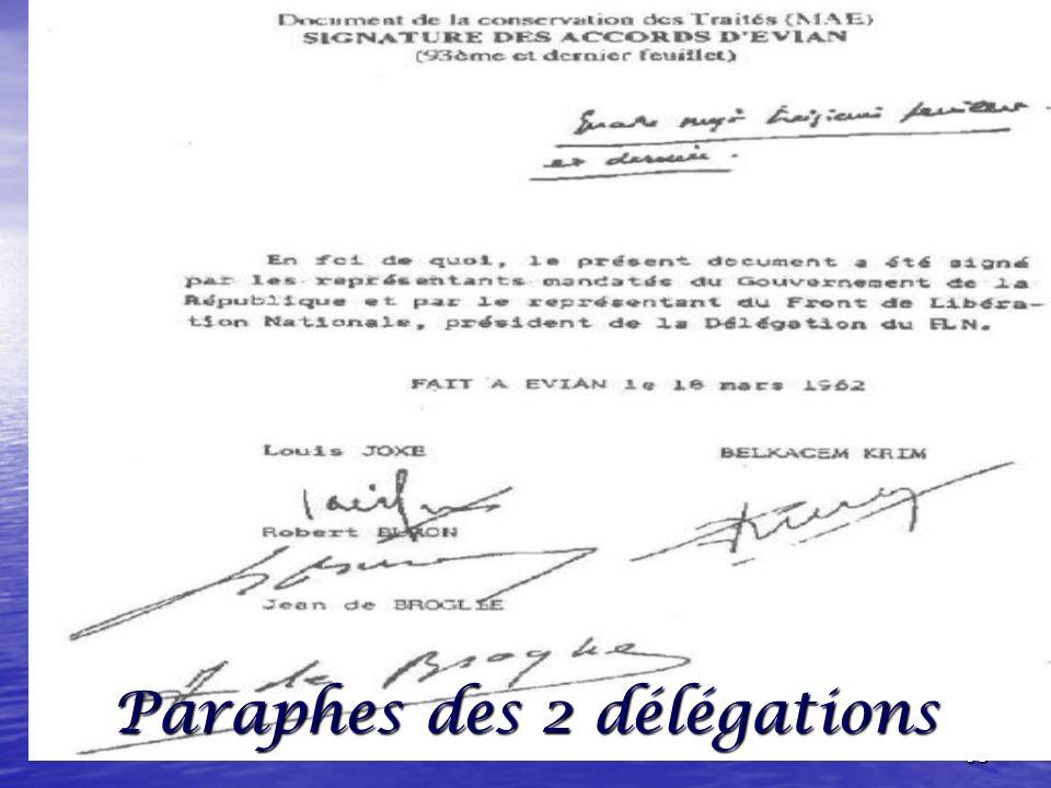 97 La dernière rencontre à Evian : entre les délégations : Française Française Algérienne Algérienne ************************************ ******………………