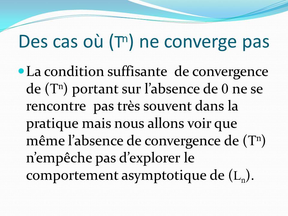 Des cas où ( T n ) ne converge pas La condition suffisante de convergence de ( T n ) portant sur labsence de 0 ne se rencontre pas très souvent dans la pratique mais nous allons voir que même labsence de convergence de ( T n ) nempêche pas dexplorer le comportement asymptotique de ( L n ).