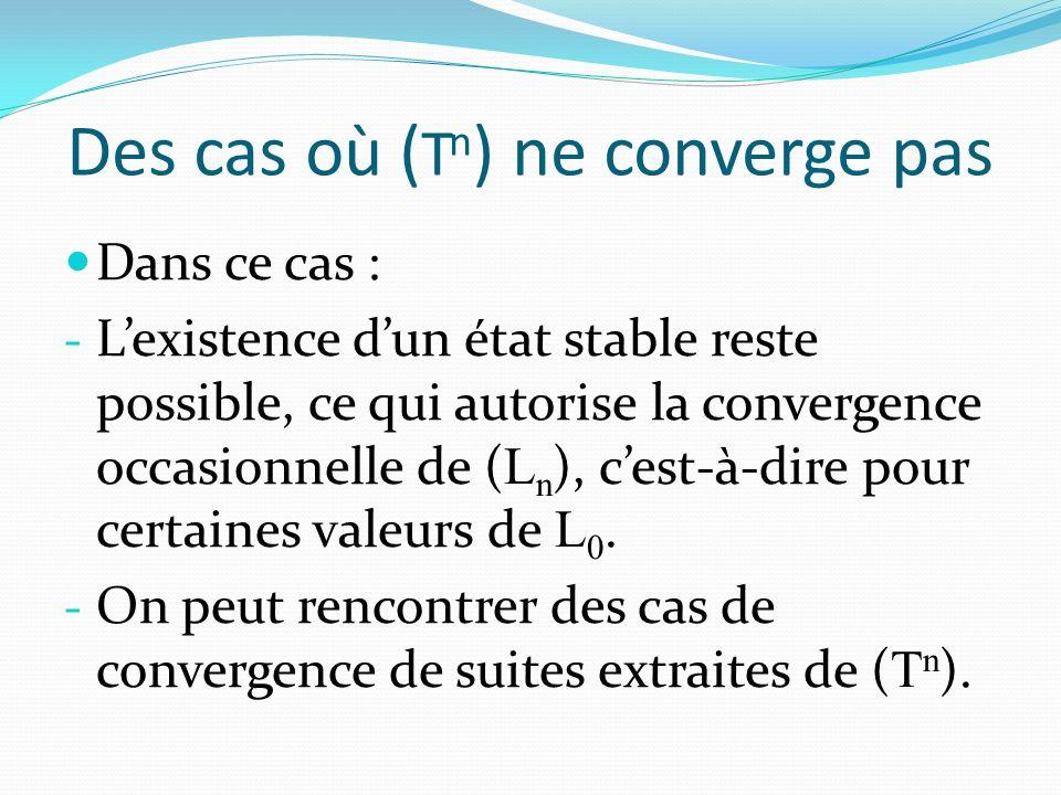Des cas où ( T n ) ne converge pas Dans ce cas : - Lexistence dun état stable reste possible, ce qui autorise la convergence occasionnelle de ( L n ), cest-à-dire pour certaines valeurs de L 0.