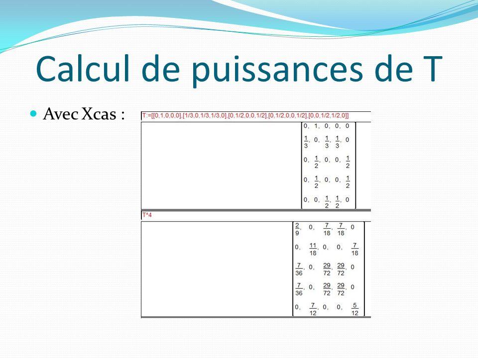 Calcul de puissances de T Avec Xcas :