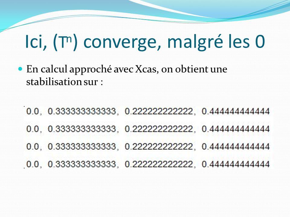Ici, ( T n ) converge, malgré les 0 En calcul approché avec Xcas, on obtient une stabilisation sur :