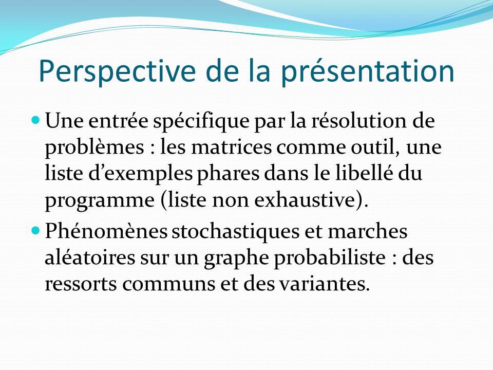 Perspective de la présentation Une entrée spécifique par la résolution de problèmes : les matrices comme outil, une liste dexemples phares dans le libellé du programme (liste non exhaustive).