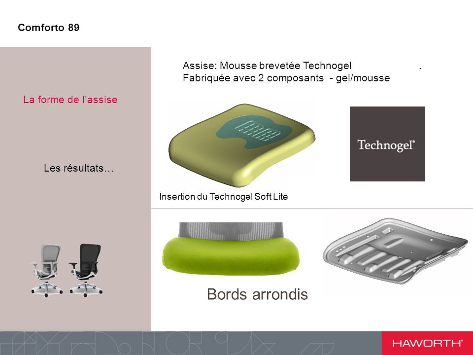 Assise: Mousse brevetée Technogel. Fabriquée avec 2 composants - gel/mousse Point n°2 : La forme de lassise Insertion du Technogel Soft Lite Bords arr