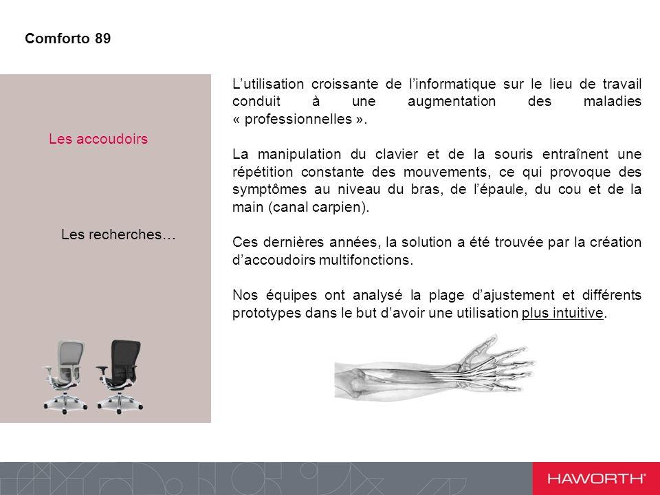 Point n°3 : Les accoudoirs Lutilisation croissante de linformatique sur le lieu de travail conduit à une augmentation des maladies « professionnelles ».