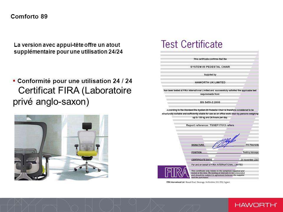 La version avec appui-tête offre un atout supplémentaire pour une utilisation 24/24 Conformité pour une utilisation 24 / 24 Certificat FIRA (Laboratoire privé anglo-saxon) Comforto 89