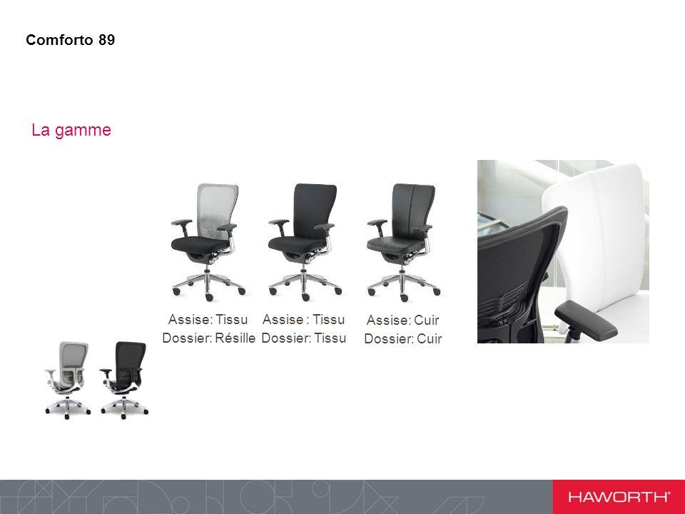Assise: Tissu Dossier: Résille Assise : Tissu Dossier: Tissu Assise: Cuir Dossier: Cuir Comforto 89 La gamme
