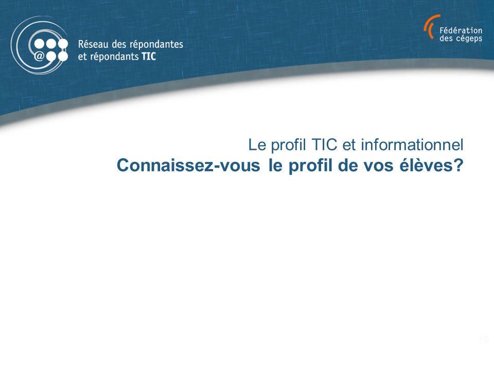 Le profil TIC et informationnel Connaissez-vous le profil de vos élèves? 19