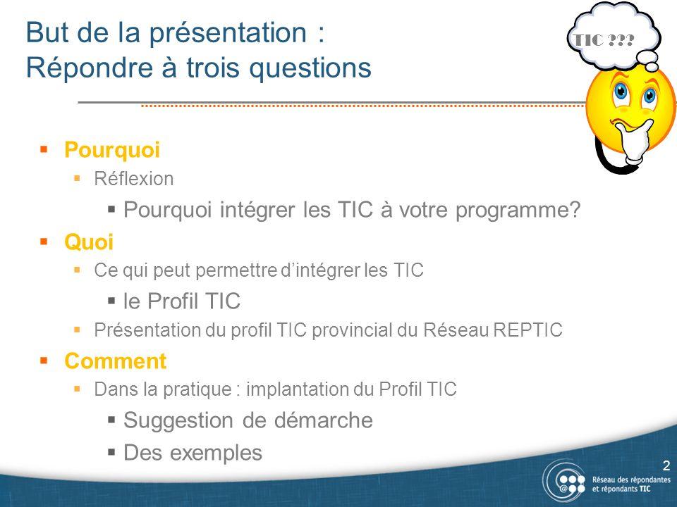 But de la présentation : Répondre à trois questions Pourquoi Réflexion Pourquoi intégrer les TIC à votre programme.