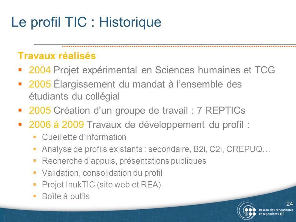 Le profil TIC : Historique Travaux réalisés 2004 Projet expérimental en Sciences humaines et TCG 2005 Élargissement du mandat à lensemble des étudiants du collégial 2005 Création dun groupe de travail : 7 REPTICs 2006 à 2009 Travaux de développement du profil : Cueillette dinformation Analyse de profils existants : secondaire, B2i, C2i, CREPUQ… Recherche dappuis, présentations publiques Validation, consolidation du profil Projet InukTIC (site web et REA) Boîte à outils 24