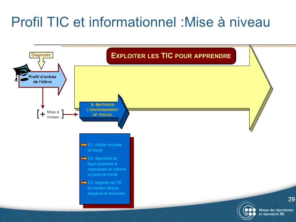 Profil TIC et informationnel :Mise à niveau 29