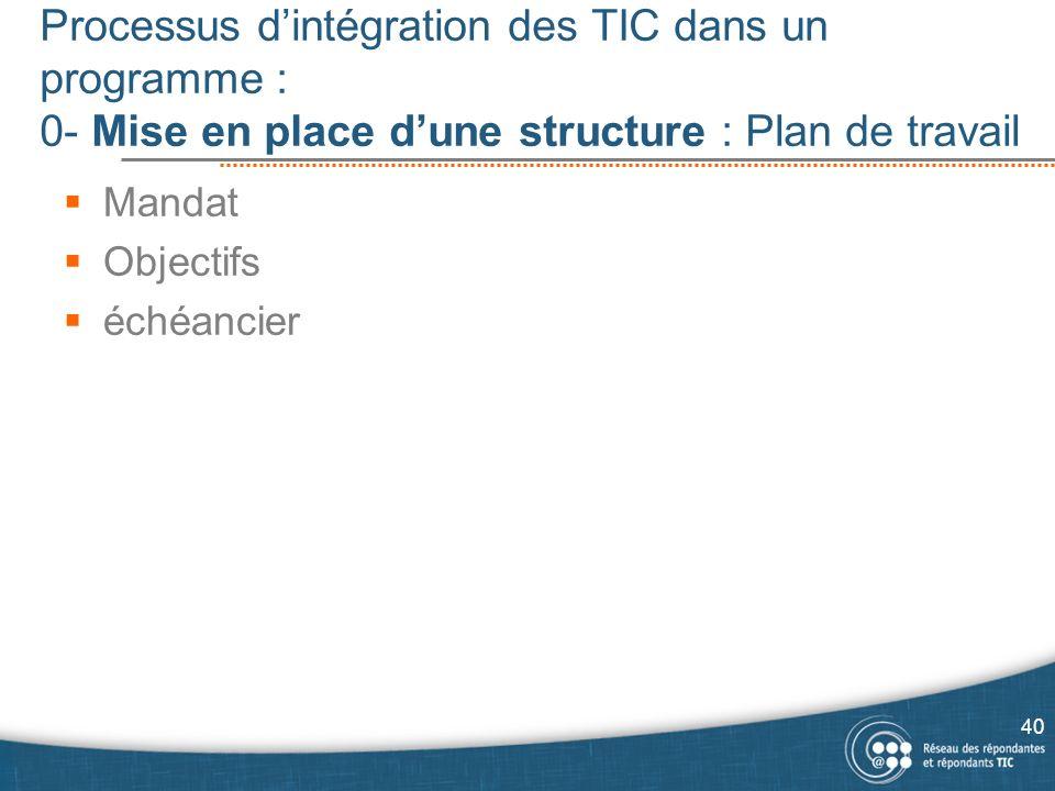 Processus dintégration des TIC dans un programme : 0- Mise en place dune structure : Plan de travail 40 Mandat Objectifs échéancier