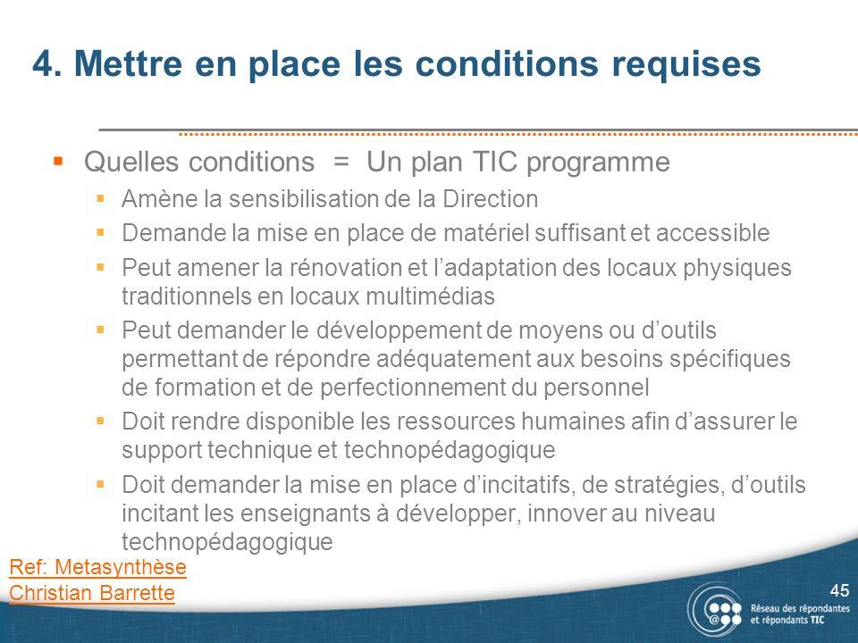 4. Mettre en place les conditions requises Quelles conditions = Un plan TIC programme Amène la sensibilisation de la Direction Demande la mise en plac