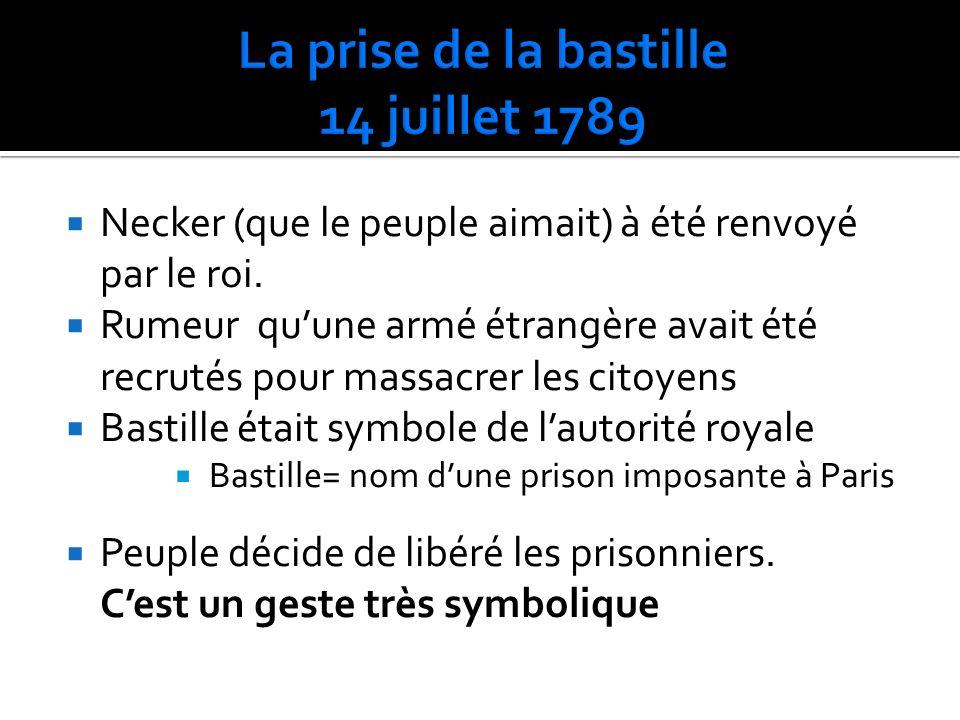 Necker (que le peuple aimait) à été renvoyé par le roi. Rumeur quune armé étrangère avait été recrutés pour massacrer les citoyens Bastille était symb