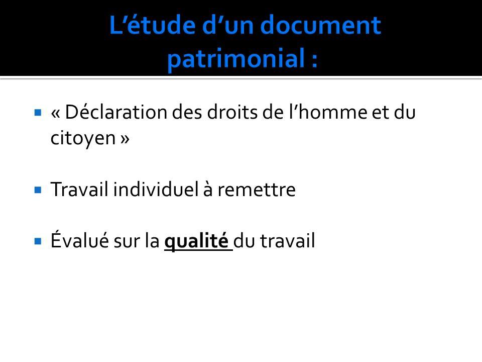 « Déclaration des droits de lhomme et du citoyen » Travail individuel à remettre Évalué sur la qualité du travail