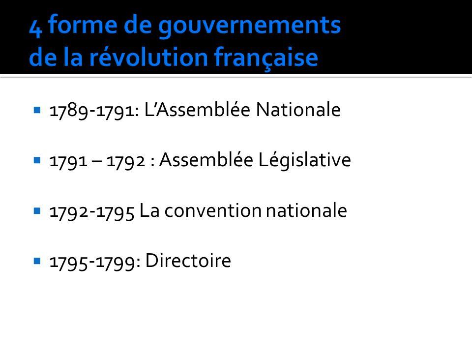 1789-1791: LAssemblée Nationale 1791 – 1792 : Assemblée Législative 1792-1795 La convention nationale 1795-1799: Directoire