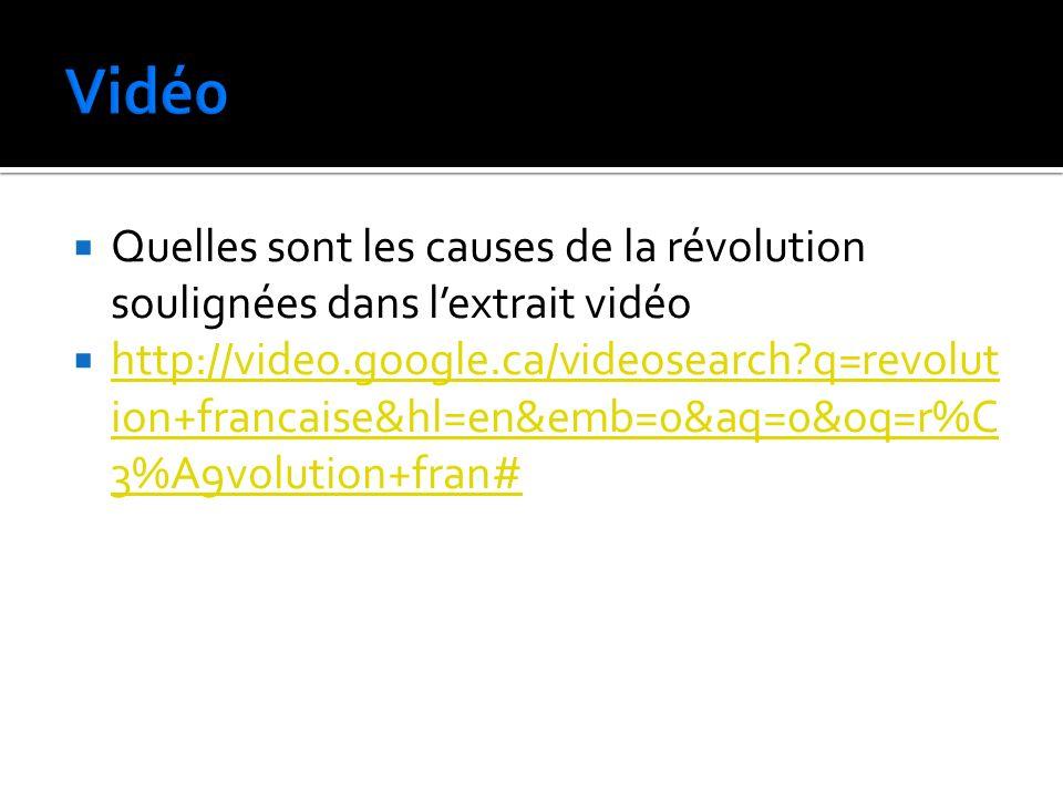 Quelles sont les causes de la révolution soulignées dans lextrait vidéo http://video.google.ca/videosearch?q=revolut ion+francaise&hl=en&emb=0&aq=0&oq