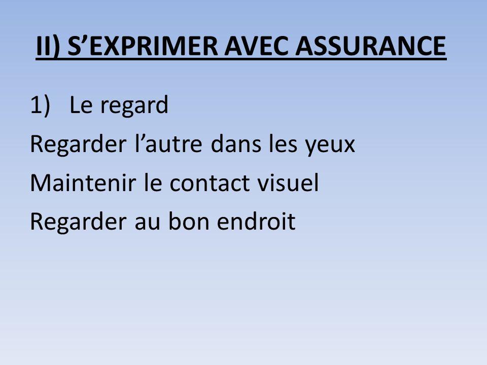 II) SEXPRIMER AVEC ASSURANCE 1)Le regard Regarder lautre dans les yeux Maintenir le contact visuel Regarder au bon endroit