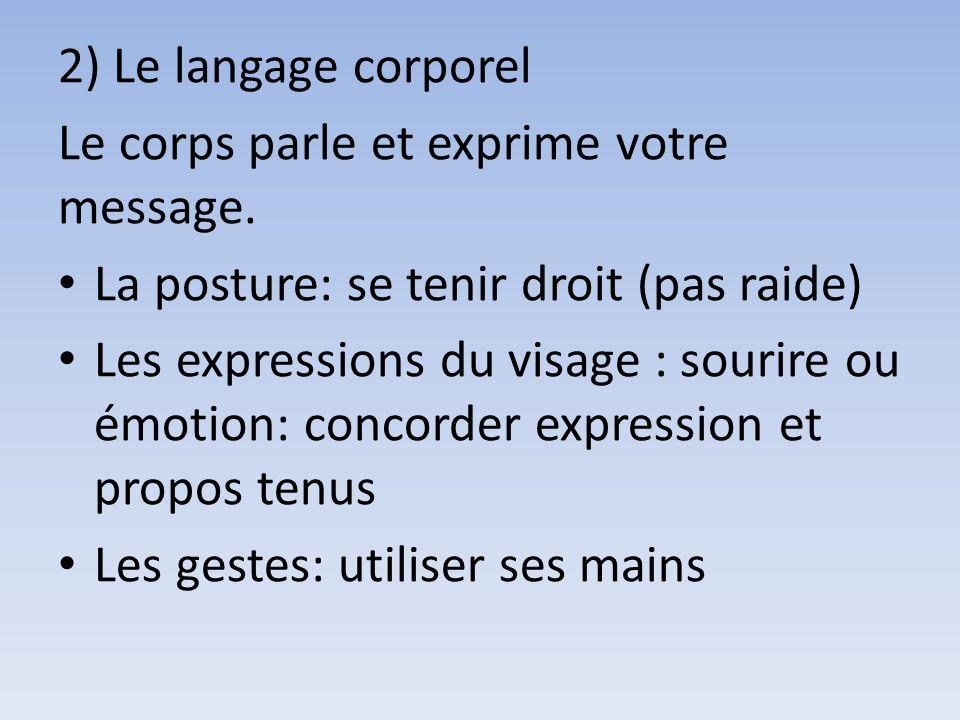2) Le langage corporel Le corps parle et exprime votre message.