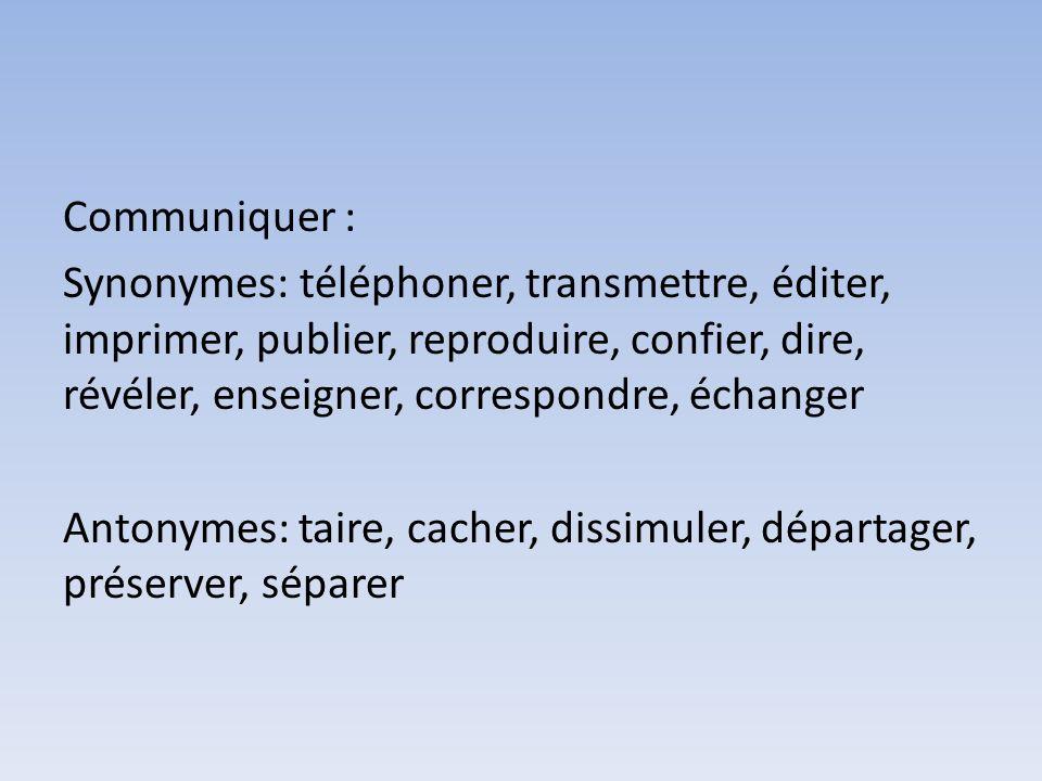 Communiquer : Synonymes: téléphoner, transmettre, éditer, imprimer, publier, reproduire, confier, dire, révéler, enseigner, correspondre, échanger Antonymes: taire, cacher, dissimuler, départager, préserver, séparer