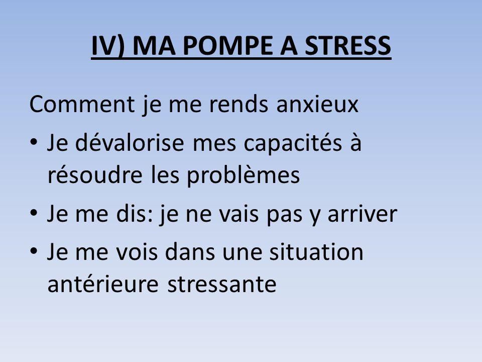 IV) MA POMPE A STRESS Comment je me rends anxieux Je dévalorise mes capacités à résoudre les problèmes Je me dis: je ne vais pas y arriver Je me vois dans une situation antérieure stressante