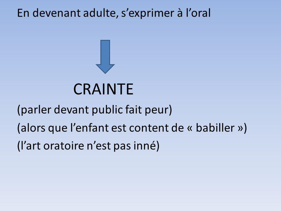 En devenant adulte, sexprimer à loral CRAINTE (parler devant public fait peur) (alors que lenfant est content de « babiller ») (lart oratoire nest pas inné)