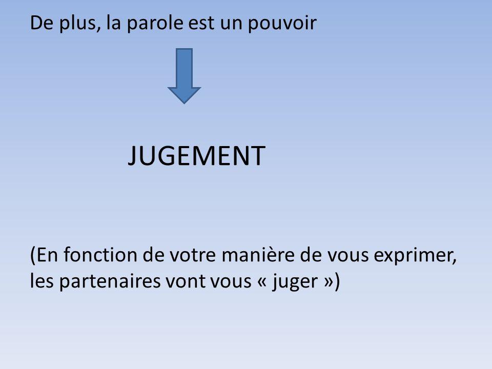 De plus, la parole est un pouvoir JUGEMENT (En fonction de votre manière de vous exprimer, les partenaires vont vous « juger »)