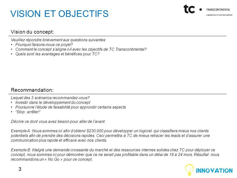 VISION ET OBJECTIFS 3 Vision du concept: Veuillez répondre brièvement aux questions suivantes: Pourquoi faisons-nous ce projet? Comment le concept sal