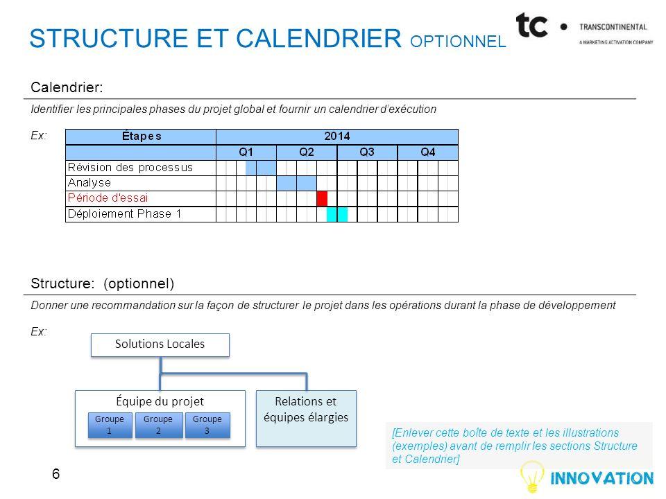STRUCTURE ET CALENDRIER OPTIONNEL Calendrier: Identifier les principales phases du projet global et fournir un calendrier dexécution Ex: Structure: (o