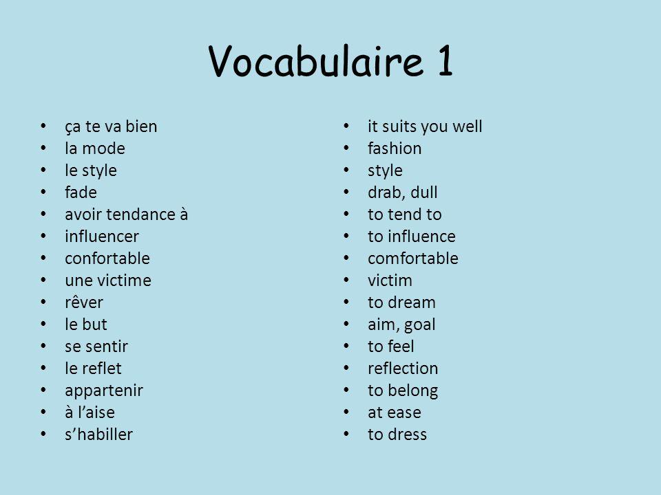 Vocabulaire 1 ça te va bien la mode le style fade avoir tendance à influencer confortable une victime rêver le but se sentir le reflet appartenir à la