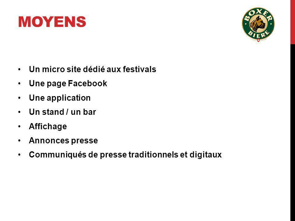 MOYENS Un micro site dédié aux festivals Une page Facebook Une application Un stand / un bar Affichage Annonces presse Communiqués de presse tradition